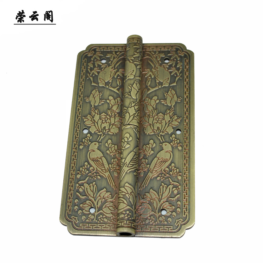 New Chinese furniture antique bookcase door hinge copper accessories copper hinge flower and bird designs AF-12A(China (Mainland))