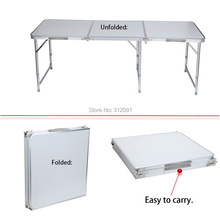 Portable Adjustable 180cm 6ft Folding Trestle Table Home Picnic +Carrying Handle , free shipping(China (Mainland))