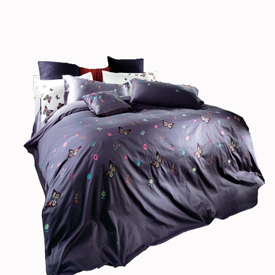 delicado de la mariposa juego de cama bordado diseador de ropa de cama algodn