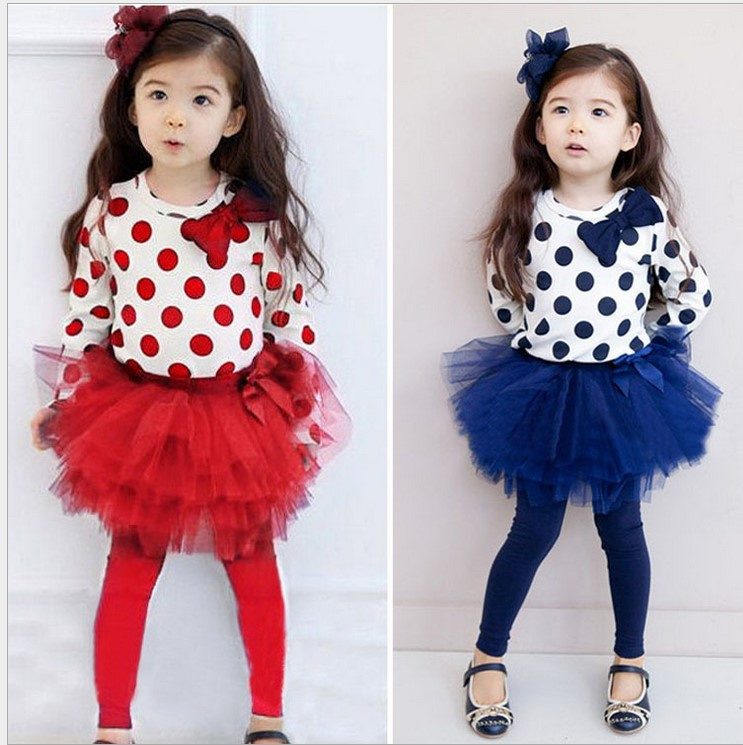Children Sets New girl's two-piece suits Happy birthday full sleeve Tshirt + cake skirts girl spring&Autumn clothing