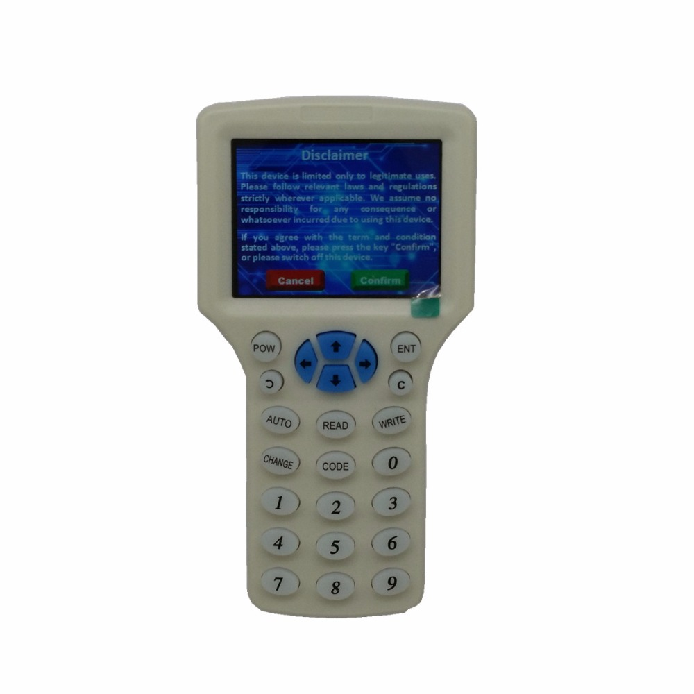 English Language RFID Reader Writer Copier Duplicator 125Khz 13.56Mhz 10 Frequency With USB Cable For IC/ID/HID Cards LCD Screen