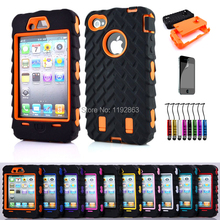 Armored robot Triple Shockproof Rugged Hybrid Phone Case Cover & Screen protection & Stylus pen For Apple iphone 4 4S 4G 4GS