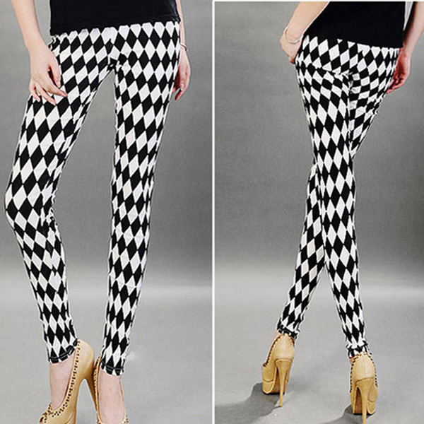 Multi Patterns Women Skinny Leggings Pants Stripe Grid Porcelain Geometry Pencil Legwear