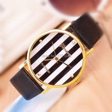 New Fashion Hot sale Geneva the new ultra-thin watches fashion lady watch gold vertical stripes Wristwatche for women SB019P