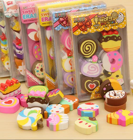 24Pcs/lot Fantastic Pencil Eraser creative cake eraser Children's Day Rubber birthday Present school students wholesale FG516(China (Mainland))
