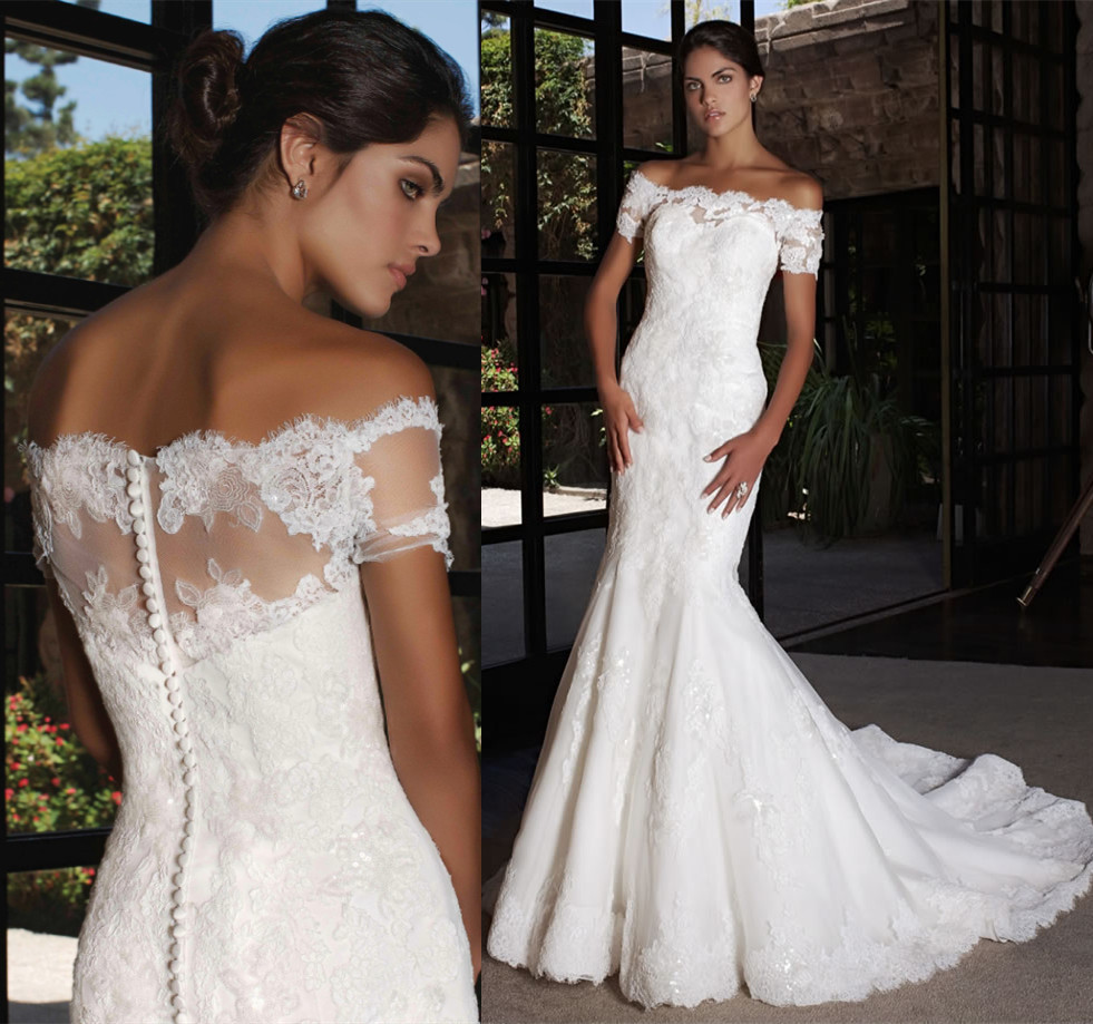 Robe de mariage new arrival long wedding dress 2016 boat for Boat neck lace wedding dress