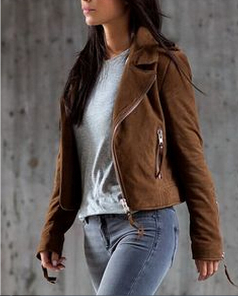 2016 Spring Autumn khaki zip jacket Women Jacket Tops Celeb Long Sleeve Coat Casual Slim Fit ...