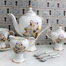 High fashion 15 coffee set bone china coffee french tea set tall