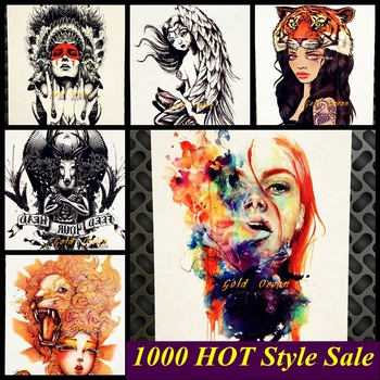 1PC Sexy Girl Henna Waterproof Fake Tattoo Body Art Sleeve Arm Tattoo Stickers GHB-442 Flower Colorful Girl Armband Tatoo Punk