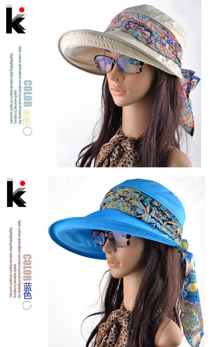 Бесплатная доставка 2015 летние шляпы для женщин chapeu feМиниno новинка на открытом воздухе козырьки cap sun складной анти-уф hat 6 цветов