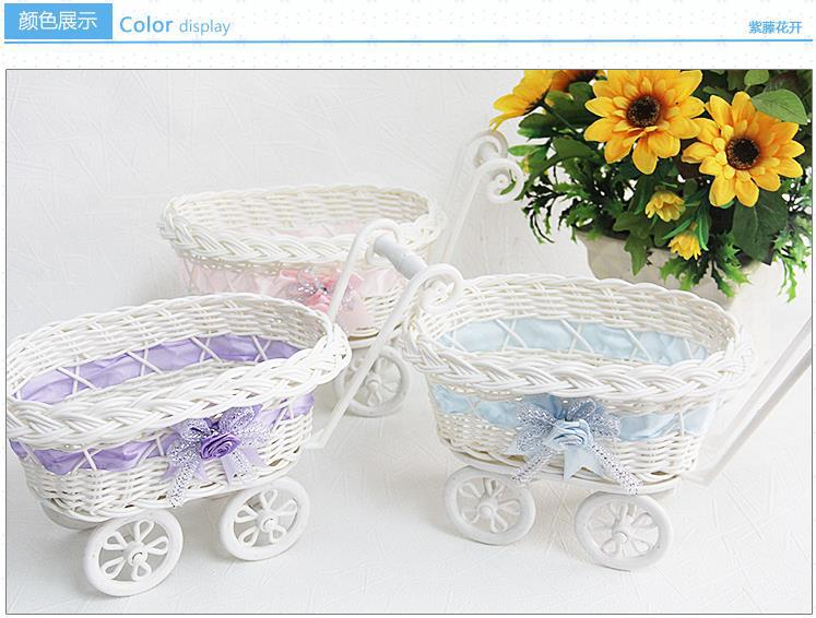3 color antique Small four wheel shopping cart home decoration storage mini car basket for phone coin living room rattan crafts(China (Mainland))