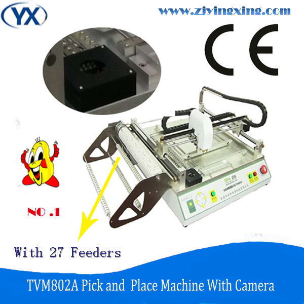 High Speed High Accuracy LED SMT Pick and Place Machine Placement Equipment TVM802A Made in China With Camera and 27 feeders(China (Mainland))