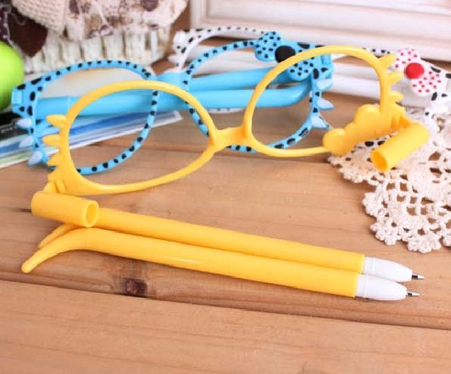 Glasses 2 Ball Pens Novelty Kids Toys School Office Gift Cute Cartoon Stationery, FREE SHIPPING