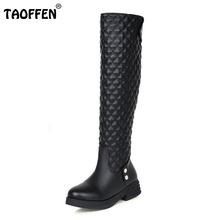 Buy Women Flat Knee Boots Ladies Riding Fashion Long Snow Boot Warm Winter Brand Botas Female Footwear Shoes Size 34-40 for $29.88 in AliExpress store
