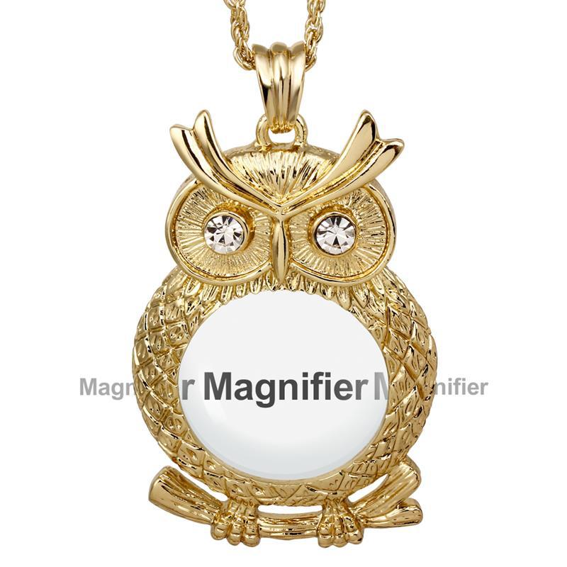 POPO Cutie New Design Women Glass Crystals Neckalce 2x Magnifying Glass Pendant Fashion Owl Cute Look 18K Gold(China (Mainland))