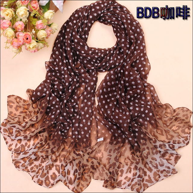 Min order $15 Free Shipping!New Women's Fashion leopard printed Design chiffon georgette silk scarf/ shawl!