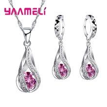 חם מים Drop CZ 925 כסף סטרלינג תכשיטים לנשים תליון שרשרת חישוק עגילי חתונה מסיבת Ceremoey אנל(China)