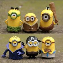 6pcs/lots 2016 New Cartoon Movie Despicable Me 3 3D Eye Anime Cartoon Mini Minions Action Figure Model Toys Gifts Wholesale