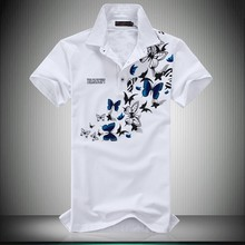 Solid Polo Shirt 2016 New Summer Short Sleeve Men Polo Shirt Fashion Butterfly Print Slim Fit Plus Size 6XL 5XL-M Polo Homme Hot