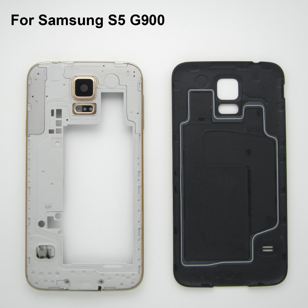 Middle Black/white/Gold Frame Bezel Back Battery Door Cover Case Sumsung Galaxy S5 G900F Housing Replacement - Cell Phone Repair store