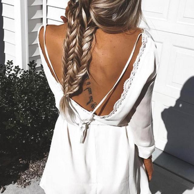 Женщины Белого Шифона Платье 2016 Летние Платья Boho Стиль С Длинным Рукавом Sexy Спинки Дамы Повседневная Пляж Сарафан Vestidos