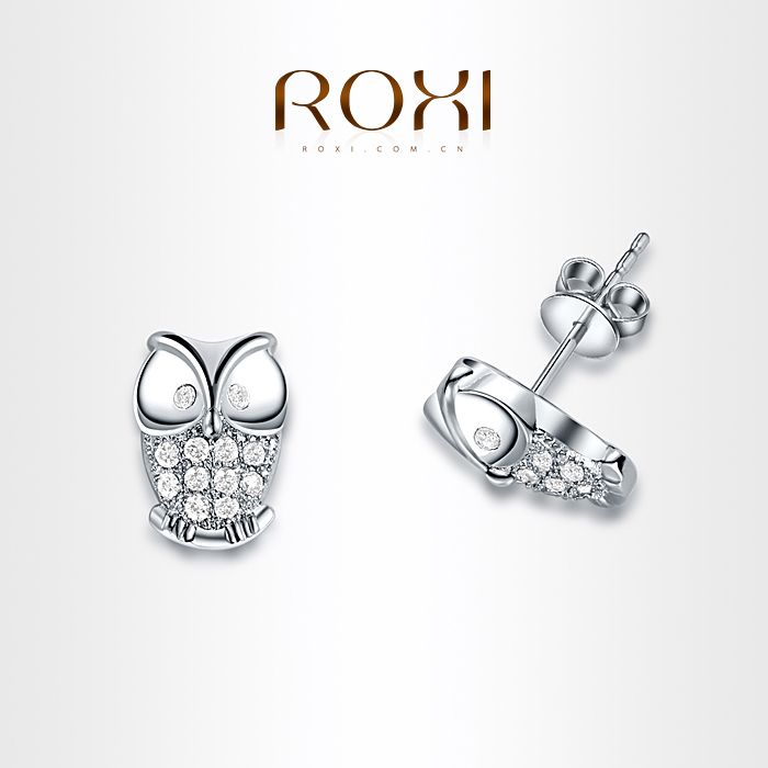 ROXI Exquisite Owl Earrings platinum plated with CZ diamonds,fashion Environmental Micro-Inserted Jewelry,102012300(China (Mainland))