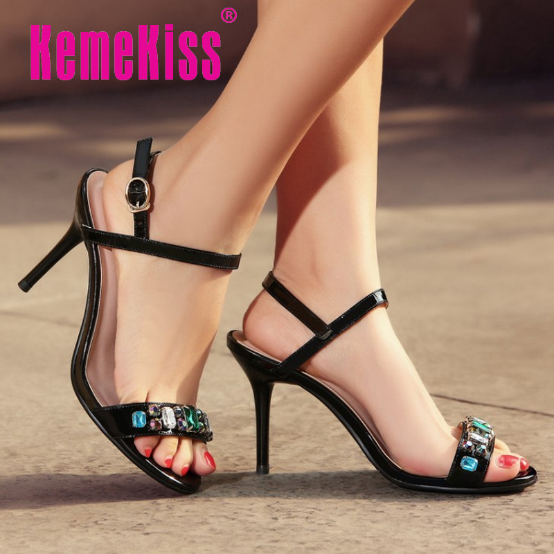women real genuine leather rhineston ankle strap high heel sandals brand sexy fashion heeled ladies shoes size 34-39 R6272<br><br>Aliexpress