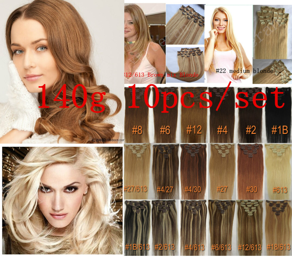 140g Clip In 100 Brazilian Remy Human Real Hair Extensions Full