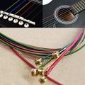 Practical 6pcs Set Hot Acoustic Guitar Rainbow Colorful Steel Strings For Acoustic Folk Guitar Classic Guitar