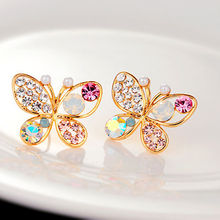 New fashion temperament lovely Ladies Chic Lovely Crystal Rhinestone Hollow Butterfly Ear Stud Earrings Gift(China (Mainland))