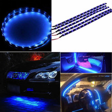 30cm Waterproof 15 Blue LED Car Vehicle Motor Grill Flexible Light Strips 12V Hot Selling(China (Mainland))