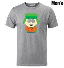 Kyle Broflovski in South Park Funny Pattern Printed T-Shirt Men's Boys Graphic Tee Tops Grey White(China (Mainland))