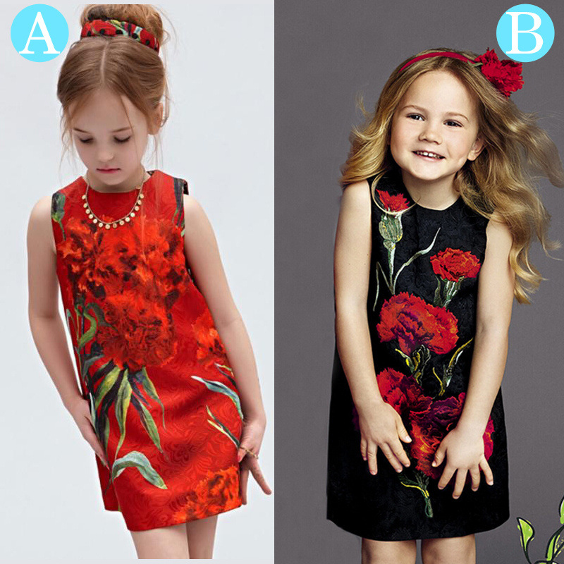 Girls Long Dresses European And American Style Carnations Pattern Jacquard Red Section Black Dress Girls Clothes 30#426<br><br>Aliexpress