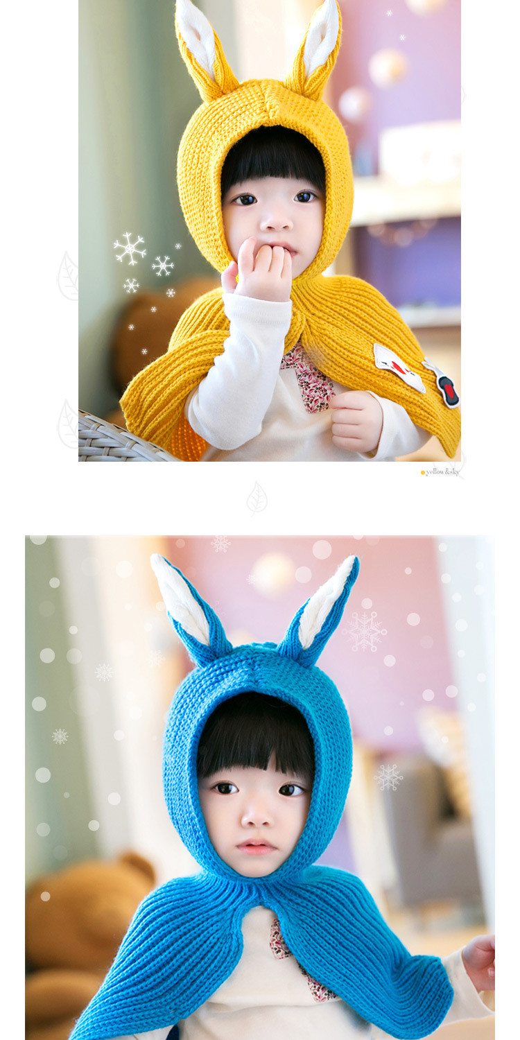 New Baby Hats Cute Winter Knitted Hat Fashion Scarf Infant Thickening Rabbit Ears Shawl Hats Animal Connecting Caps Boys Girls