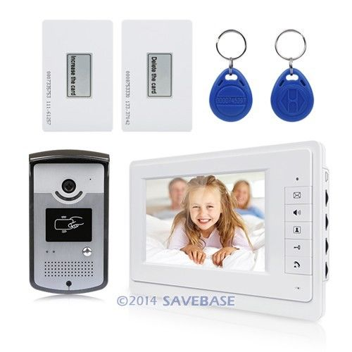 """7""""Wired Video Door Phone Doorbell Home Security Intercom System 1-In 1-Out RFID(China (Mainland))"""