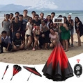 Double Layer Reverse Umbrella with Selfie Stick Creative Inverted Umbrella Wireless Bluetooth Graphic Windproof Car Umbrella
