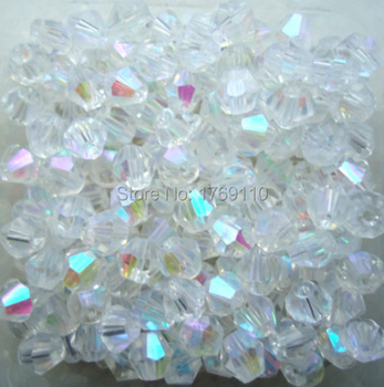 Free shipping White AB Color 100pcs 4mm Bicone Austria Crystal Beads charm Glass Beads Loose Spacer Bead for DIY Jewelry Making