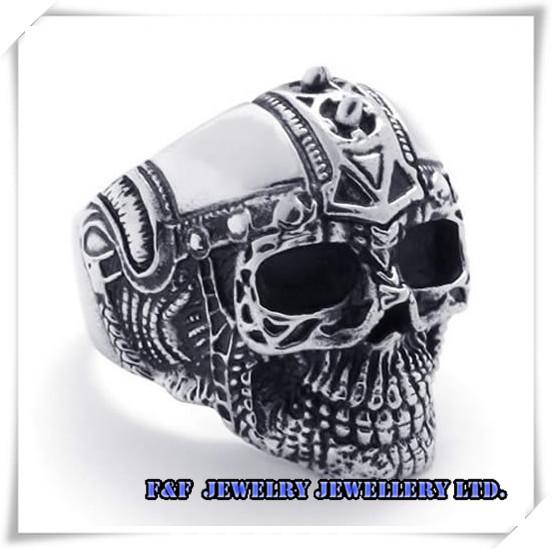 Men's Silver Skull Knight Helmet Biker Stainless Steel Ring Size 8# -13#,Fashion Style ,R#09 - FUNFUN store