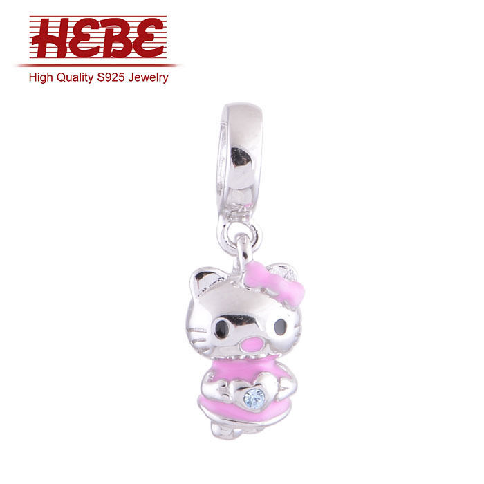 Fashion New 2015 Hello Kitty Dangle Charms 925 Sterling Silver Fit European Brand Bracelet DIY Wholesale free shipping S043(China (Mainland))
