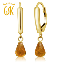 Buy GemStoneKing Real 14K Yellow Gold Drop Earrings 2.50 Ct 7x5mm Briolette Natural Citrine Engagement Earrings For Women for $83.99 in AliExpress store