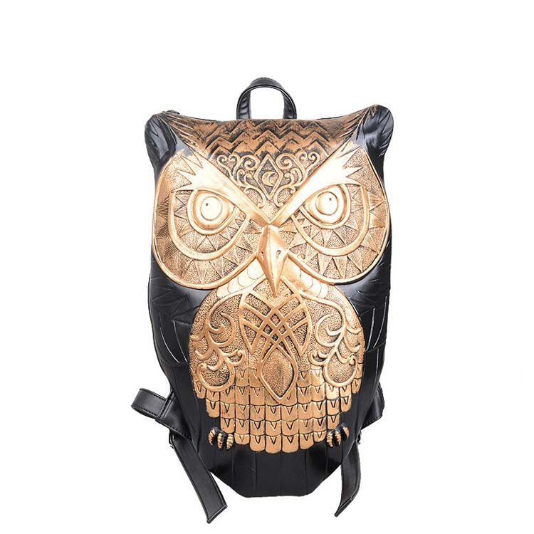 Women Backpack 2015 Newest Stylish Cool Black PU Leather Owl Backpack Female Hot Sale Women Bag In Stock Fast Shipping<br><br>Aliexpress