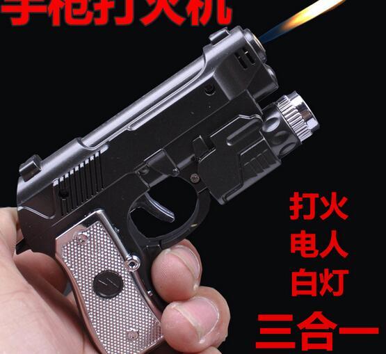 Funny Tricky toy Electric Shock Pistol lighter Gun toy 3 in 1 function electric shock people toy Joke Prank Trick Funny toy(China (Mainland))