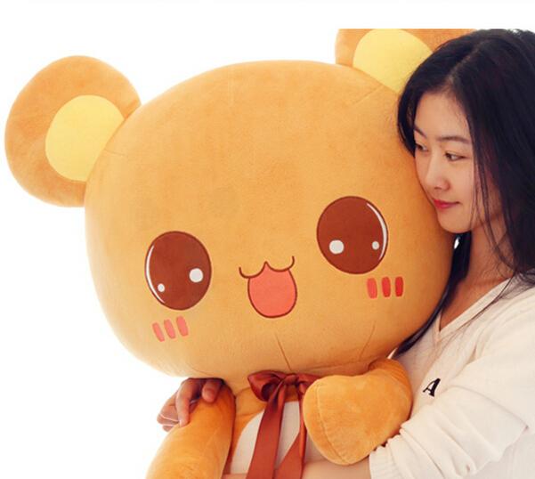 110 cm Miss Bear plush toy giant stuffed bear birthday gift Valentines Animal dolls Brown, pink 1pcs(China (Mainland))
