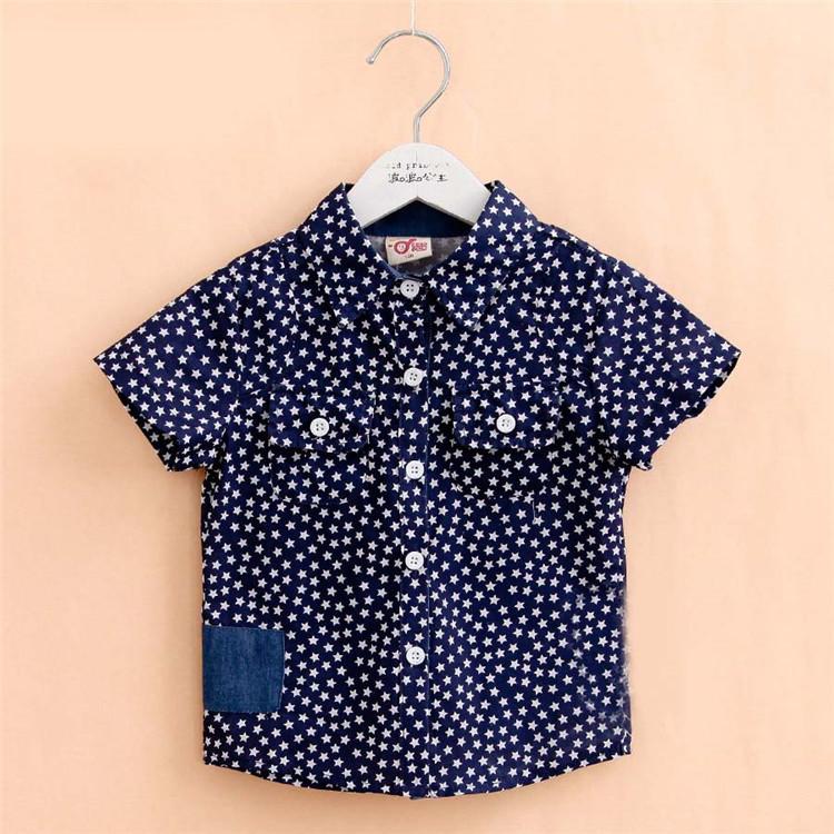2015 summer new style star print baby boys fashion shirts little boys shorts sleeve shirts boys clothing A2348(China (Mainland))