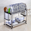 Multi functions Double Layer Desktop Kitchen Storage Rack Kitchen Tools Holder Dish Rack Stainless Steel