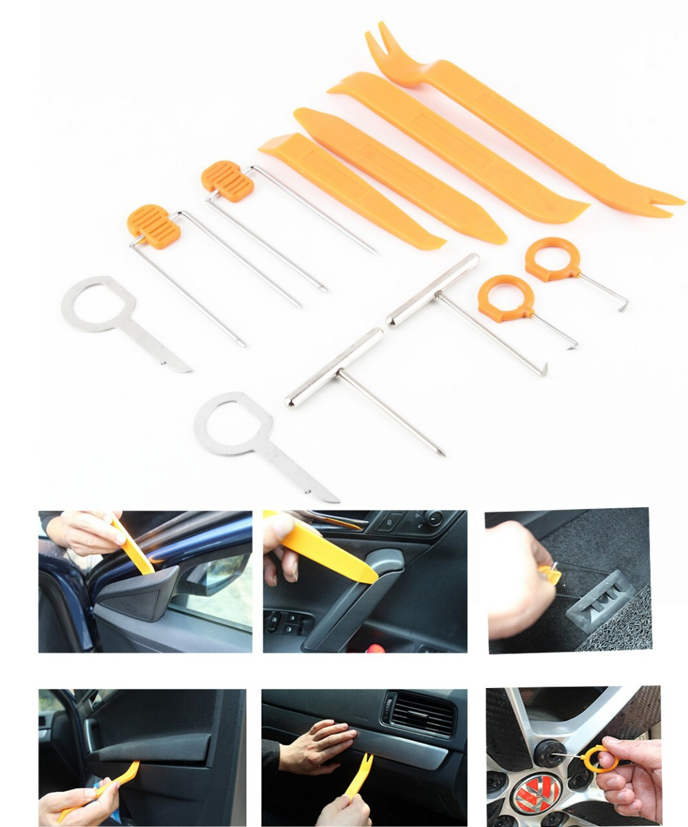 12pcs Car Radio Door Clip Panel Trim Dash Audio Removal Open Installer Pry Tool For Car Vehicle BMW Honda Audi \ Free shipping(China (Mainland))