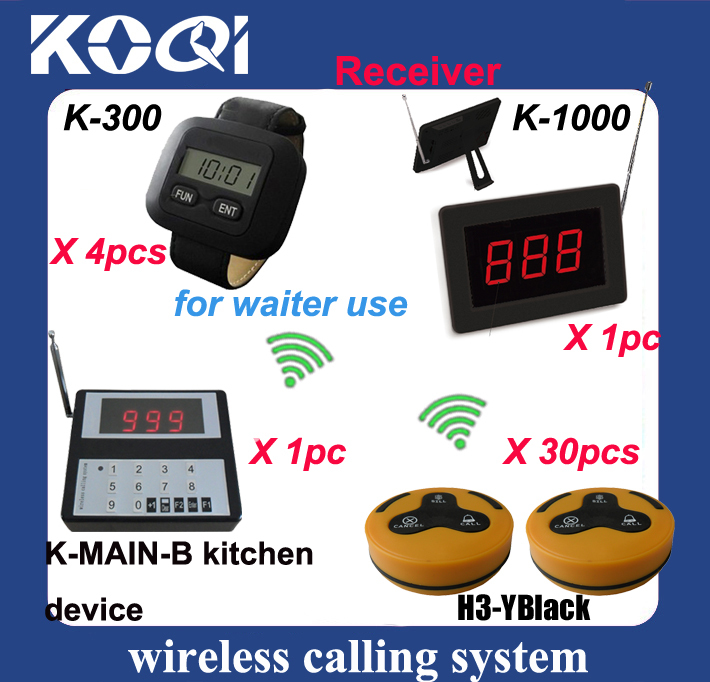 Customer calling waiter for ordering with kitchen paging waitress to collect food Wireless Restaurant Cafe service equipment(China (Mainland))