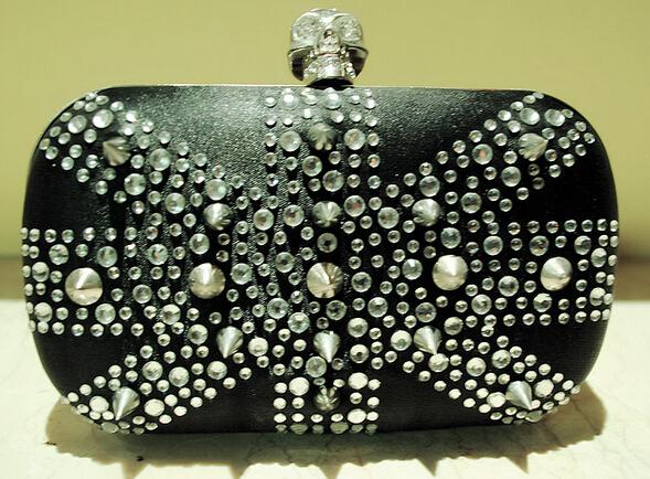 Hot Punk Clutch Bags New Style Women's Diamond Rivetsl Beads Evening Bags Skull Handmade Beaded Handbag Shoulder Bags Mini Bags(China (Mainland))