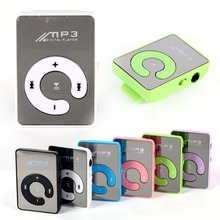 Mini MP3 Music Player Mirror Clip Support 8GB SD TF Card USB Digital 6 Colors(China (Mainland))