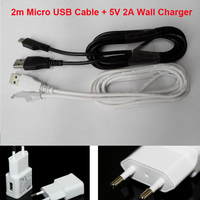 Free Ship  Smartphone charger sets For Samsung for Huawei long charger sync data cable micro usb 2m + 5V 2A EU Wall charger